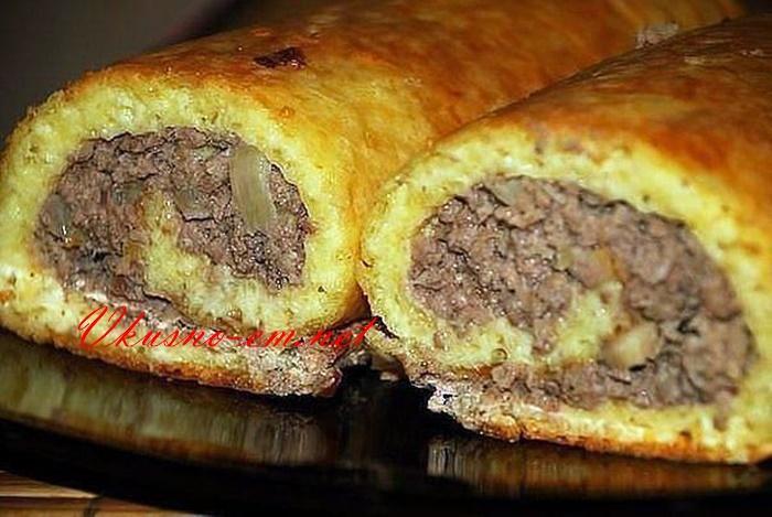 Картофельный рулет с мясом, такие рулеты ваши гости не забудут!
