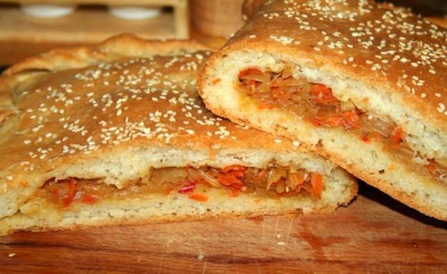 Рецепт пирога с капустой и мидиями